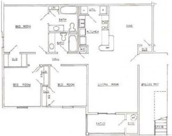 Three bedrooms two baths floorplan